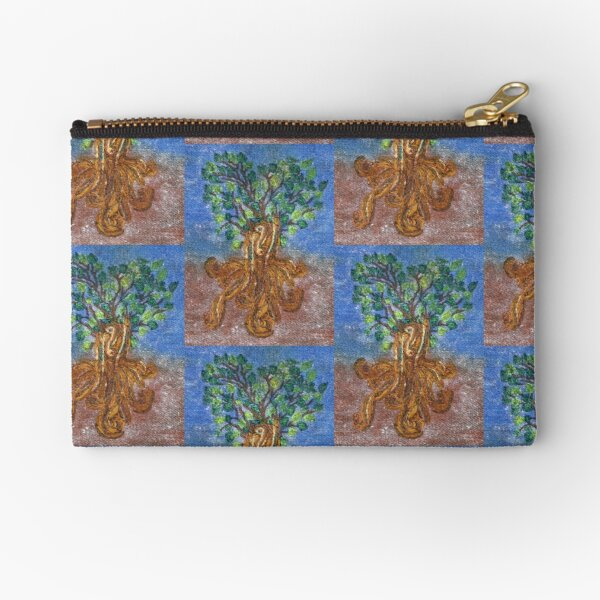 Roots and Leaves Embroidery Tree Zipper Pouch