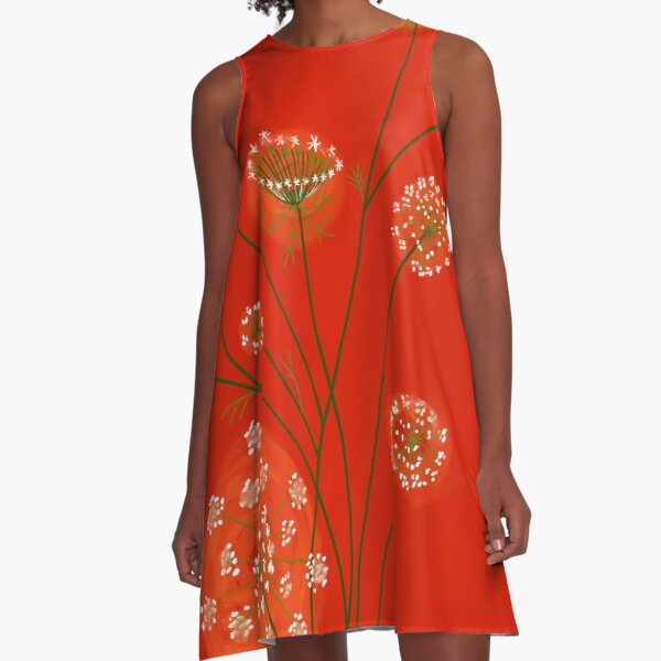 Lace on Scarlet A-Line Dress