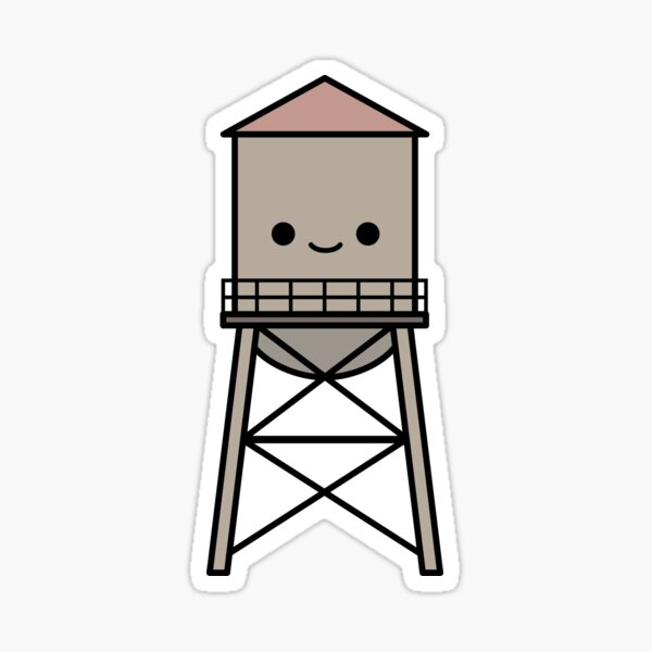 GE Water Tower in the Junction Triangle Glossy Sticker