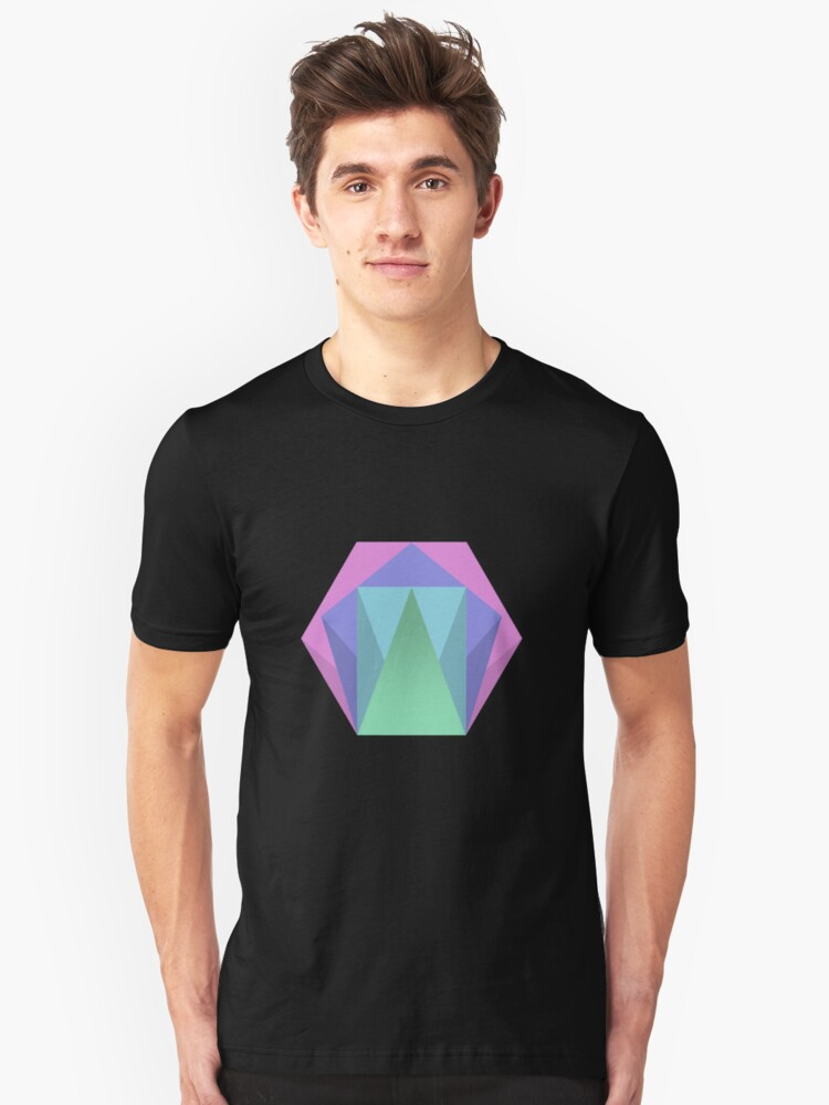 Hexagon Pattern Muted Colour Pattern Unisex T-Shirt Front