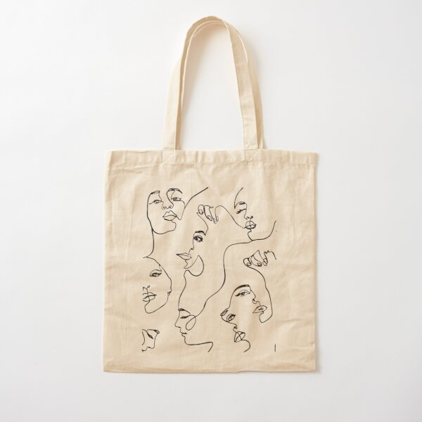 One Line Art  Cotton Tote Bag