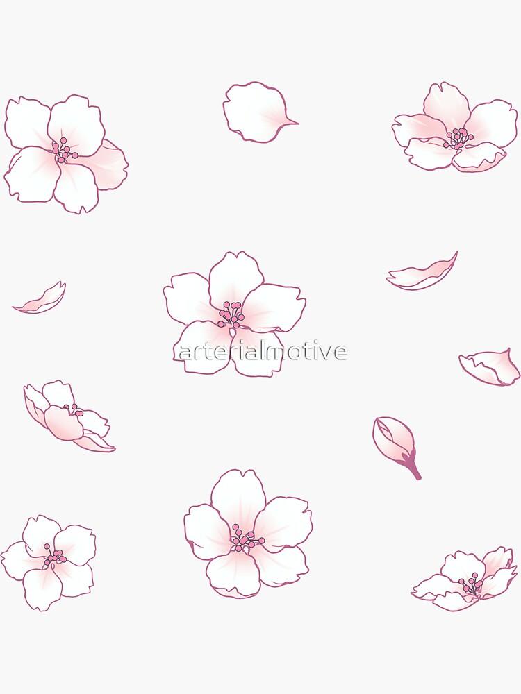 Falling White Sakura Cherry Blossom by arterialmotive