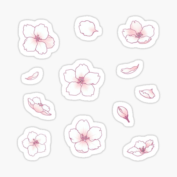 Falling White Sakura Cherry Blossom Sticker