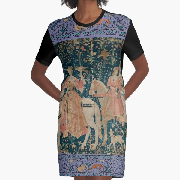 Medieval Tapestry - the Hawk Hunt Graphic T-Shirt Dress