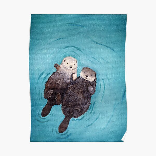 Otterly Romantic - The Official Otters Holding Hands Poster