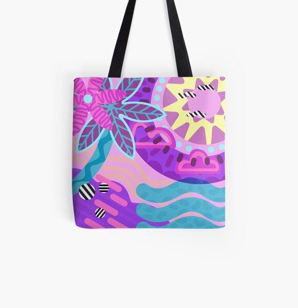 Abstract Postmodern 90s Hawaiian Vibes Art All Over Print Tote Bag