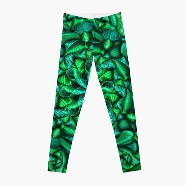 Monochromatic green zentangle flow Leggings
