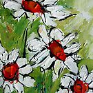 DAISYS ON GREEN  by artistpixi