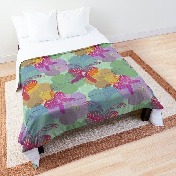 """Tropical Surrealism"" Colorful Butterfly Magenta Purple Green Jungle Floral Designer Print Comforter"