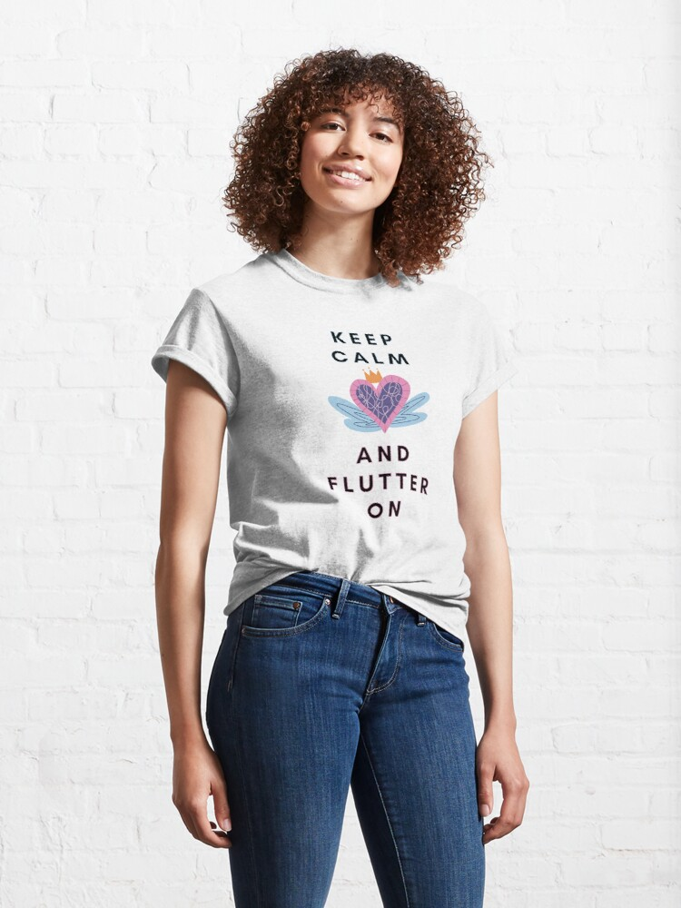 Alternate view of Keep Calm and Flutter On Heart with Wings Classic T-Shirt