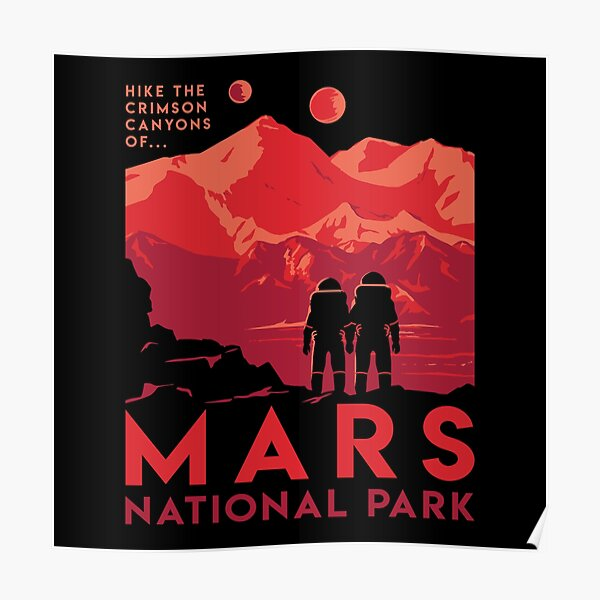 Hike the crimson canyons of Mars National Park Poster