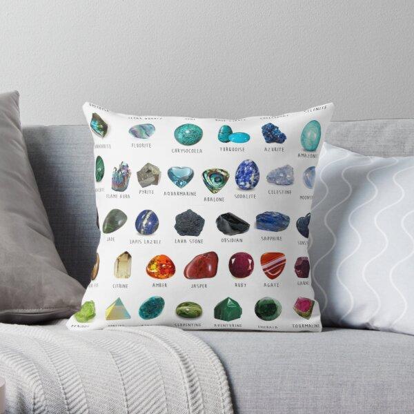 Crystal identification Chart  Throw Pillow