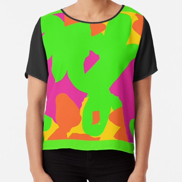 Sprouse inspired day glow print Chiffon Top