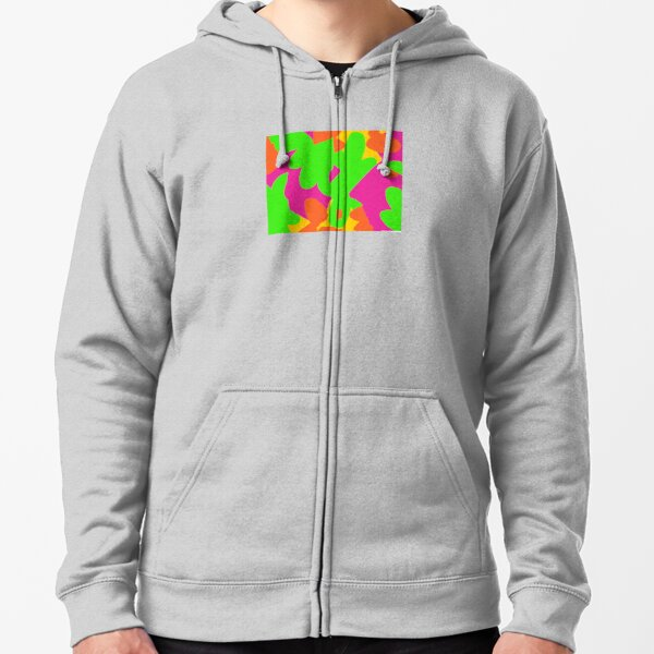 Sprouse inspired day glow print Zipped Hoodie