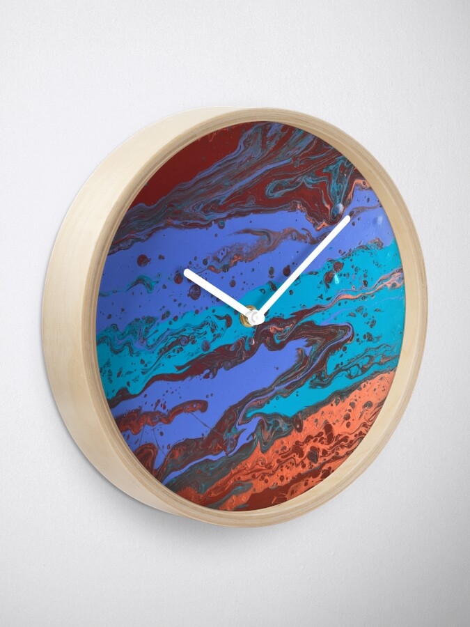"""Alternate view of Abstract Painting-Title """"Copper Creek Canyon""""  Clock"""