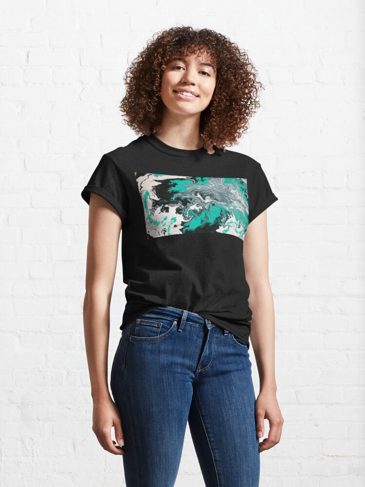 """Alternate view of Abstract Painting- title """"Turquoise Dreamsicle"""" Classic T-Shirt"""