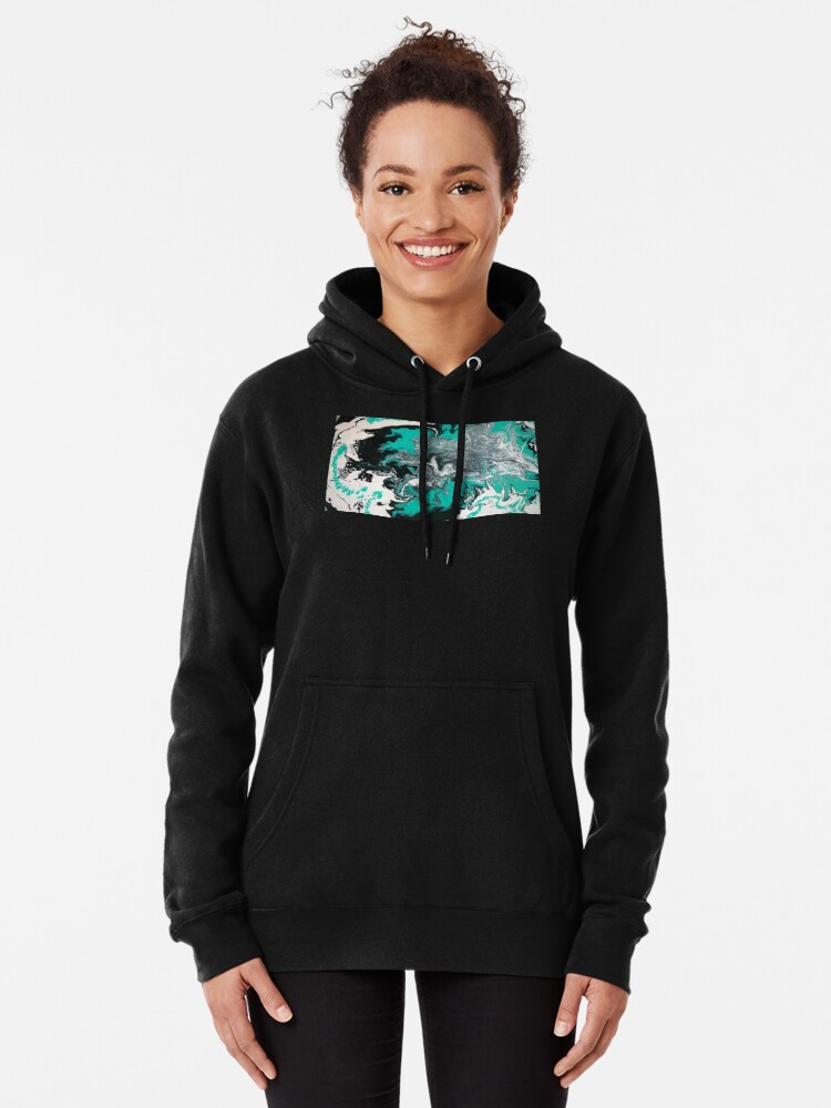 """Alternate view of Abstract Painting- title """"Turquoise Dreamsicle"""" Pullover Hoodie"""
