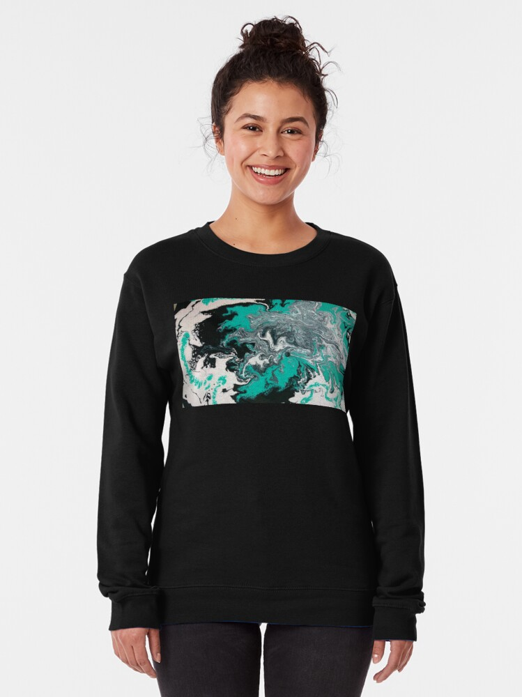"Alternate view of Abstract Painting- title ""Turquoise Dreamsicle"" Pullover Sweatshirt"