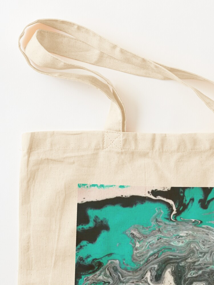 """Alternate view of Abstract Painting- title """"Turquoise Dreamsicle"""" Tote Bag"""