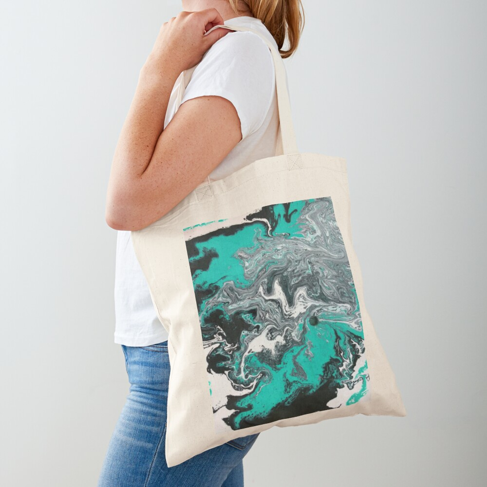 """Abstract Painting- title """"Turquoise Dreamsicle"""" Tote Bag"""