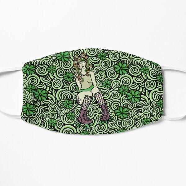 Roller Skate Girl Doodle Pattern - Green Palette Flat Mask