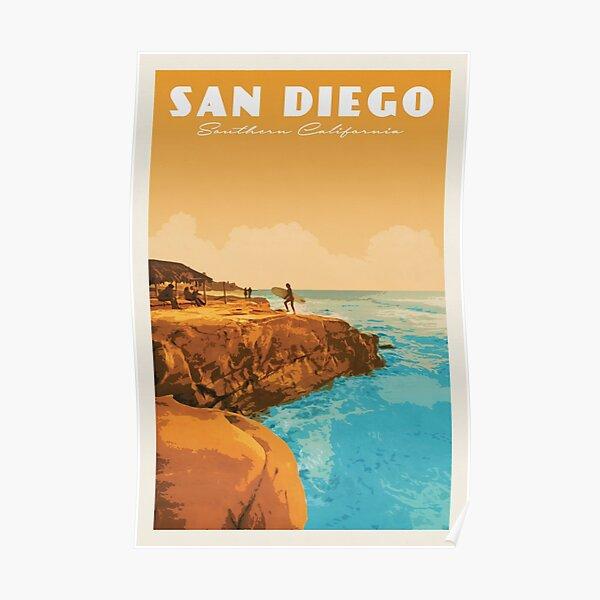 San Diego Vintage Travel Poster • San Diego Retro Travel Poster • Southern California San Diego •  Poster