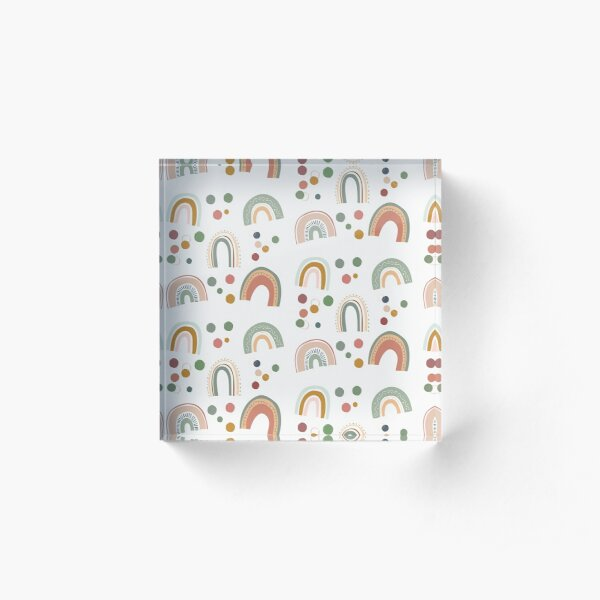 Rainbow cute and adorable pattern. Children and kids bedroom Acrylic Block