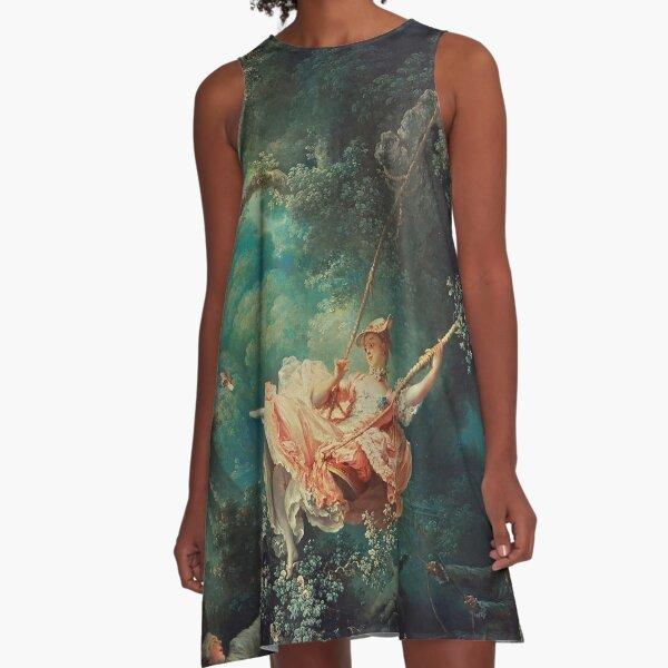 The Swing Painting - Jean-Honoré Fragonard A-Line Dress