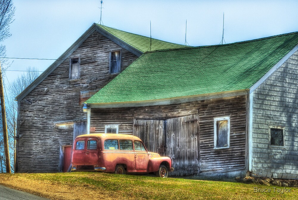 Old car, Older barn by Bruce Taylor