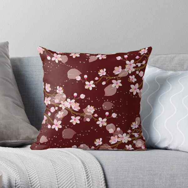 Pretty Japanese Cherry Blossom Floral Seamless Repetition pattern Throw Pillow