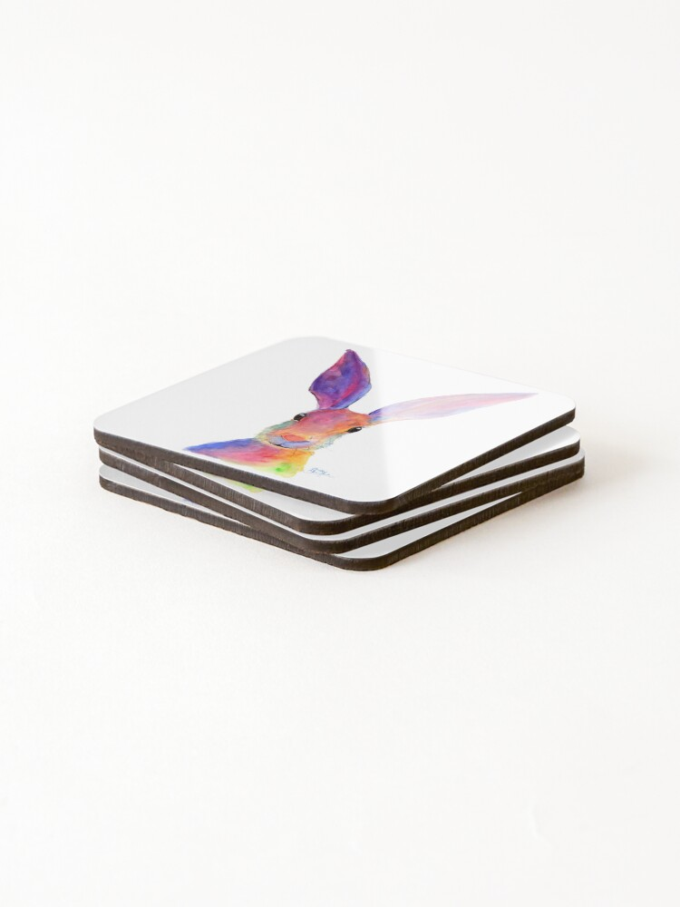 Alternate view of HARE RaBBiT PRiNTS 'JELLY BEAN' BY SHIRLEY MACARTHUR Coasters (Set of 4)