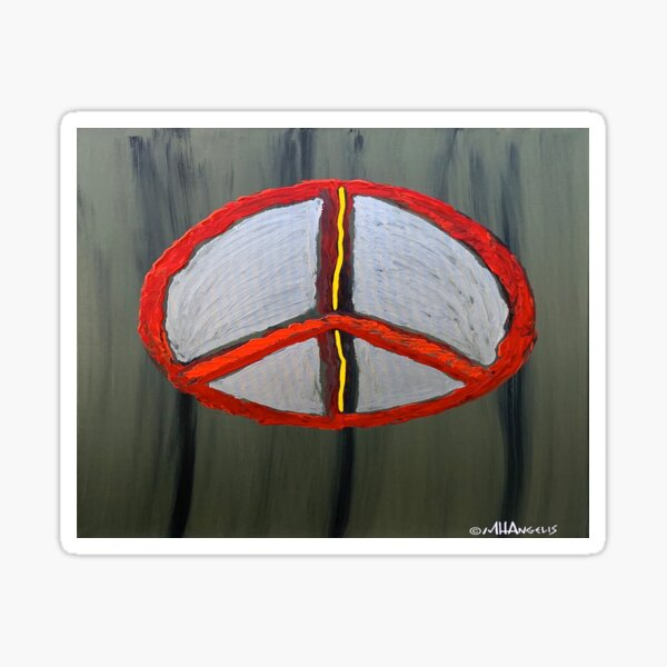 North East South West Peace Sign Symbol Red Silver Yellow Green Olive Black  Sticker
