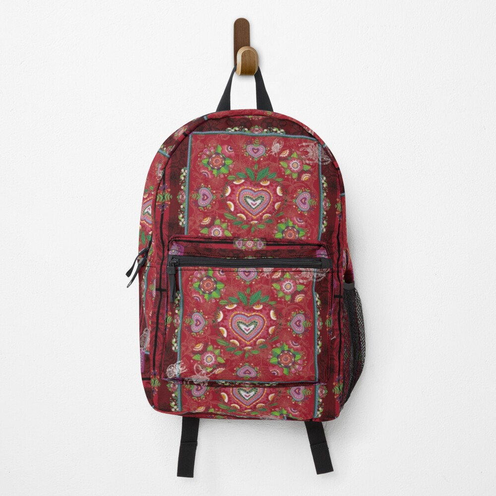 Sac à dos «CARRE FLORAL- Ambiance Rouge Gourmand»