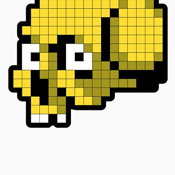 8 Bit Skull - Yellow by tpbiv