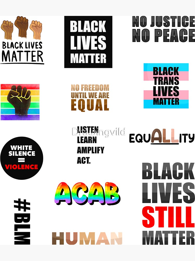 Black Lives Matter Stickers (Better in Large Sizes)  by Drawingvild