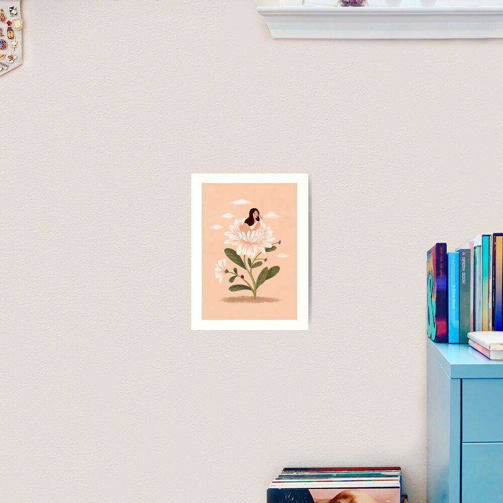 Girl and Aster Flower Art Print