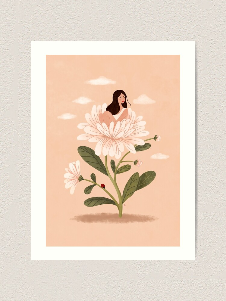 Alternate view of Girl and Aster Flower Art Print
