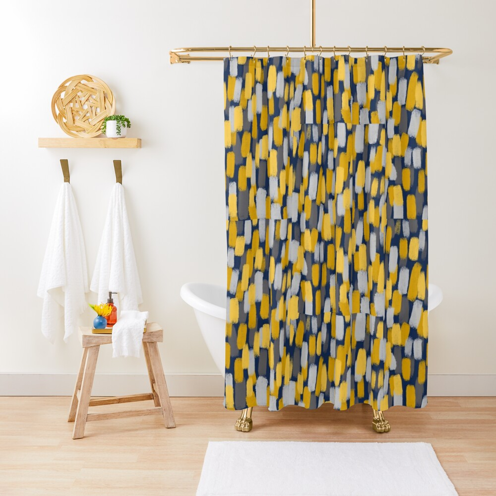 Abstract Grey and Mustard Yellow Paint Brush Effect on Navy Blue  Shower Curtain