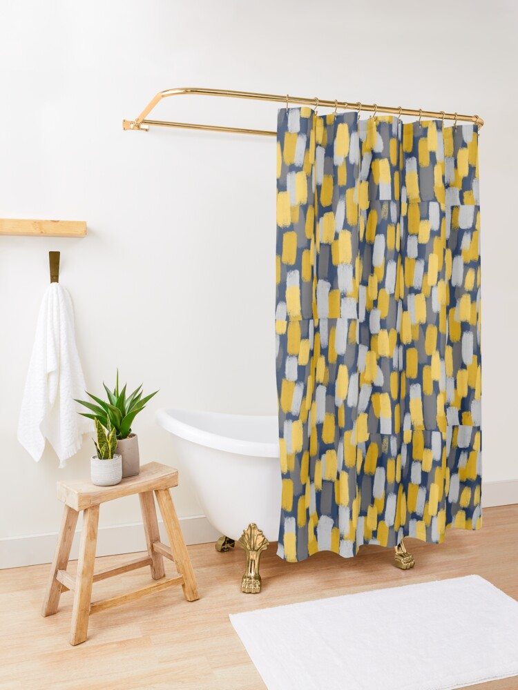 Alternate view of Abstract Grey and Mustard Yellow Paint Brush Effect on Navy Blue  Shower Curtain