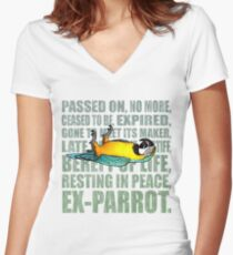 Ex Parrot Distressed Women's Fitted V-Neck T-Shirt