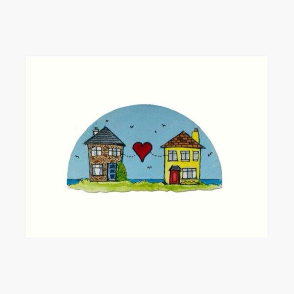 Seaside Houses Big Red Heart Art Print