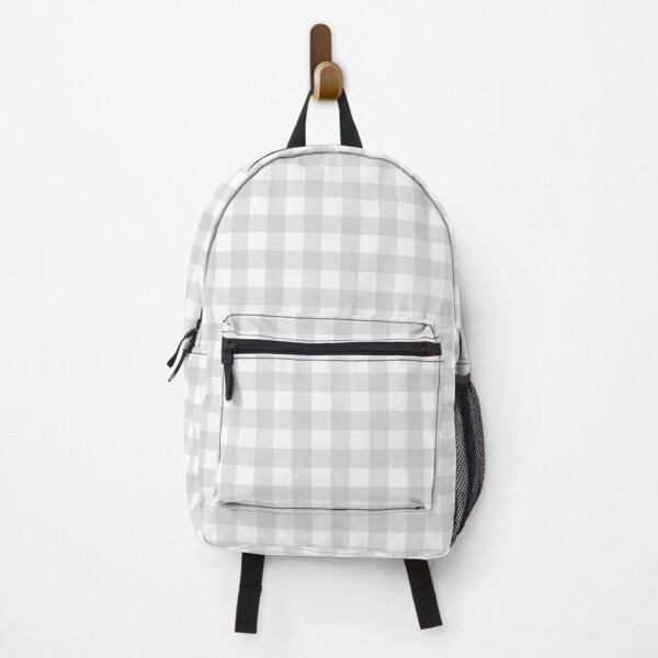 Light Grey Gingham Pattern Backpack