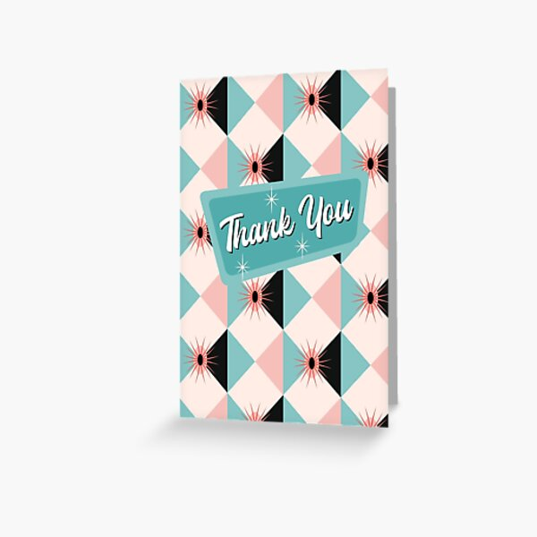 Thank You - Atomic Sunburst Blocks Mint 2 Greeting Card