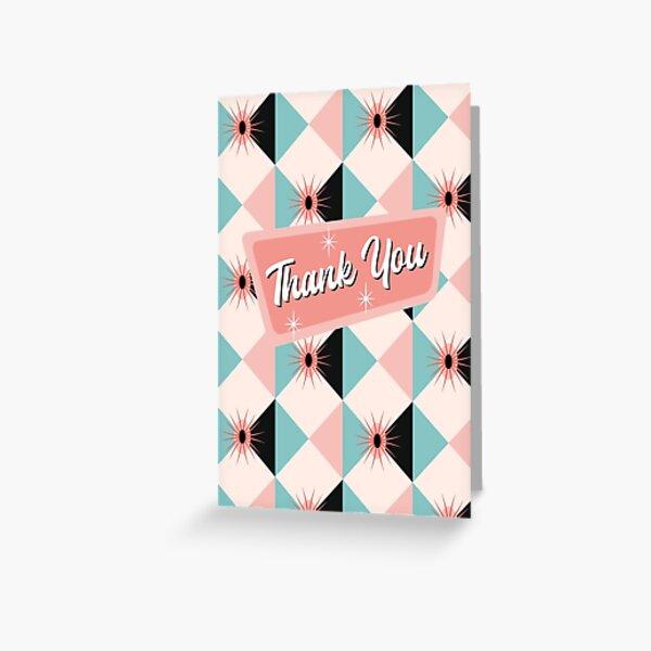 Thank You - Atomic Sunburst Blocks Pink 2 Greeting Card
