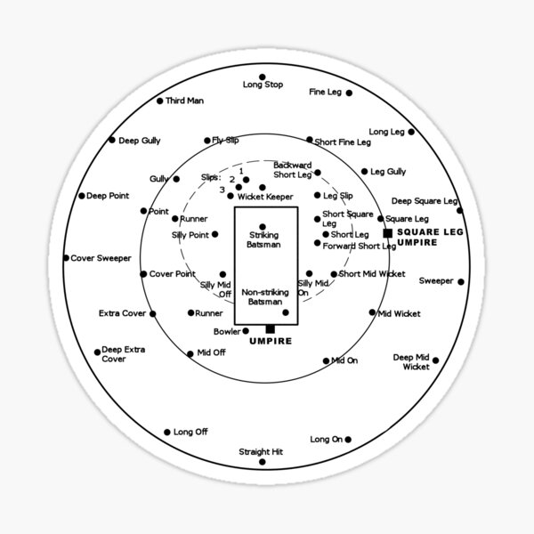 CRICKET PITCH POSITIONS- Fielding Positions Diagram Sticker