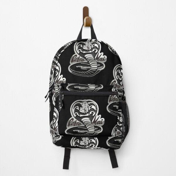 Cobra Kai Never Dies Steel Metallic Snake Logo Graphic Backpack