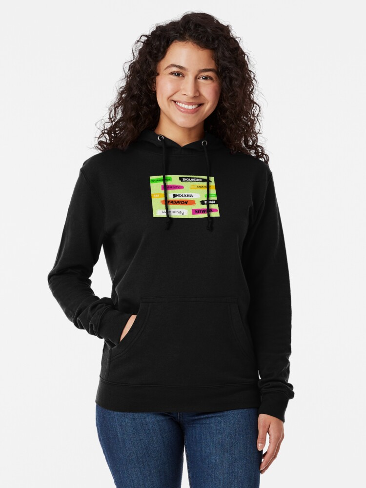 Alternate view of  Words Print- Diversity-Inclusion- Indiana Fashion Lightweight Hoodie