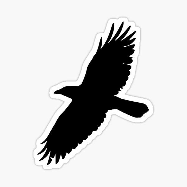 Crow in Flight Silhouette Two Sticker