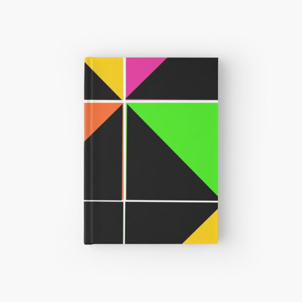 Stephen Sprouse inspired-geometric- color blocked- triangles-day glow colors Hardcover Journal