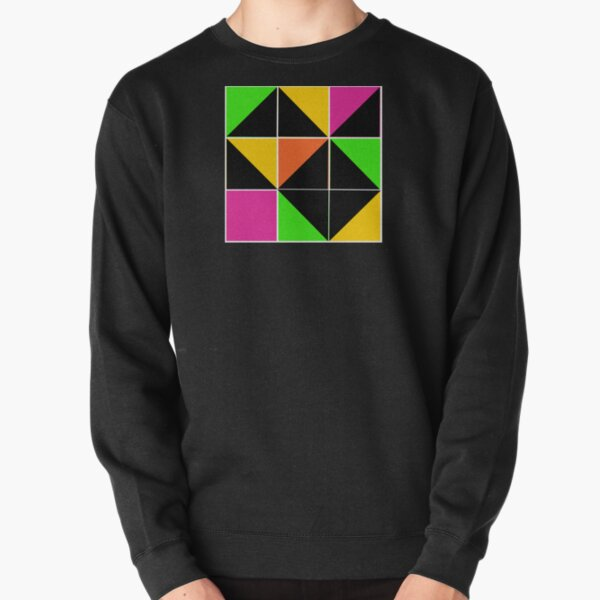 Stephen Sprouse inspired-geometric- color blocked- triangles-day glow colors Pullover Sweatshirt